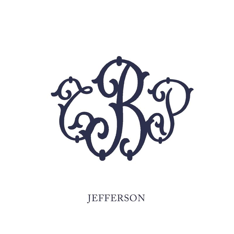Wallace Monograms - Jefferson. See samples of this monogram by searching #wpc_jefferson on social media.