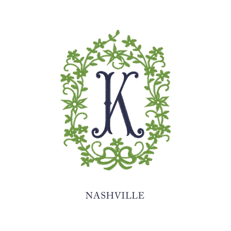 Wallace Monograms - Nashville. See samples of this monogram by searching #wpc_nashville on social media.