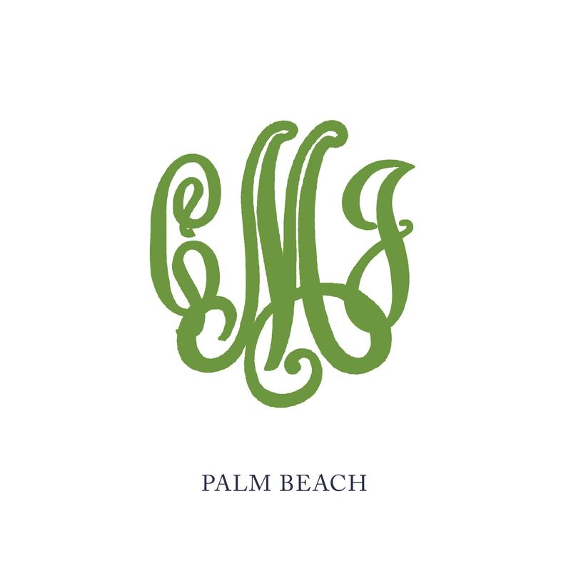 Wallace Monogram - Palm Beach. See samples of this monogram by searching #wpc_palmbeach on social media.