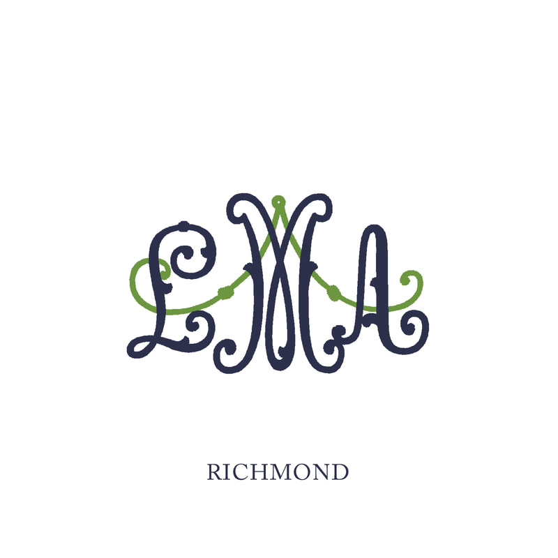 Wallace Monograms - Mount Pleasant. See samples of this monogram by searching #wpc_mountpleasant on social media.